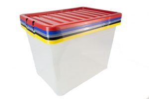 plastic boxes stacked
